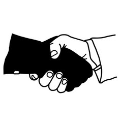 Hand shaking with dark hand dangerous partner - vector
