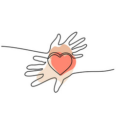 Hands woman and man holding heart valentines day vector