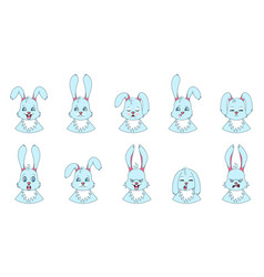 Heads rabbit with different emotions - smiling vector