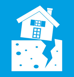 House after an earthquake icon white vector