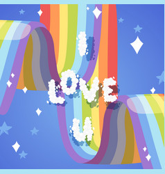 i love you card with rainbow bright colorful sky vector image
