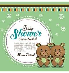 invitation baby shower twins boy bear vector image