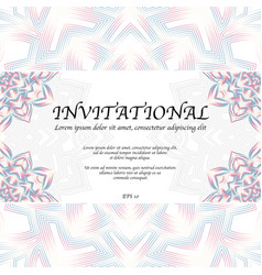 invitational card with mandala vector image