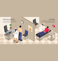 isometric vaccination horizontal vector image