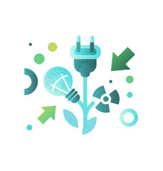Lightbulb and cable plug ecology concept eco vector