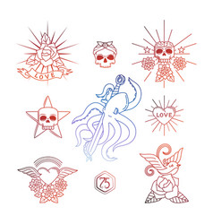 linear tattoos with skull elements vector image