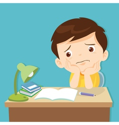 Little cute boy bored homework vector