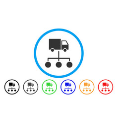 lorry distribution scheme rounded icon vector image