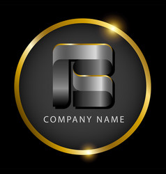 luxury letter b in golden circle for premium vector image