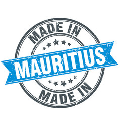 made in mauritius blue round vintage stamp vector image