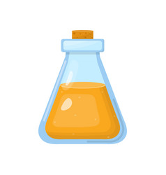 Magic potion in bottle with orange liquid vector