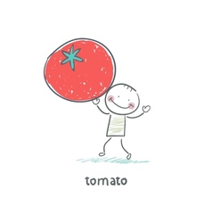 Man and tomato vector image