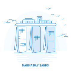marina bay sands blue landmark creative vector image