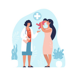 mom and child are examined a pediatrician vector image