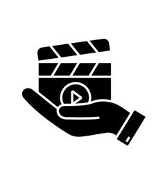 movie release glyph icon vector image