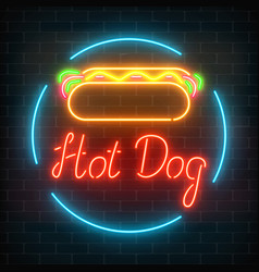 Neon hot dog cafe glowing signboard on a dark vector