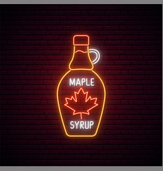 Neon maple syrup bottle sign glowing neon maple vector