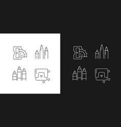 painter essentials linear icons set for dark vector image