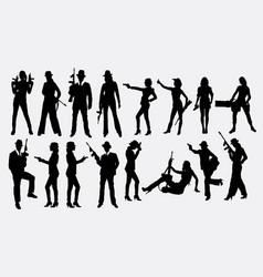 People with gun silhouette vector