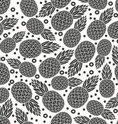 Pineapple tropical fruit monochrome seamless vector