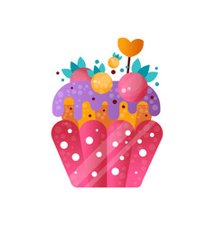 pink creamy cupcake sweet pastry decorated with vector image