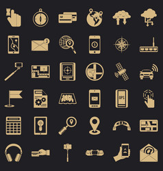 Portable widget icons set simple style vector