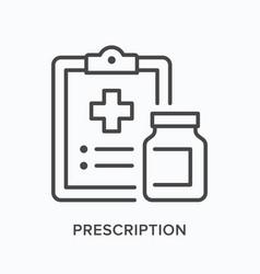 Prescription flat line icon outline vector