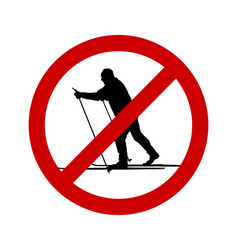 Prohibition sign for cross-country skiing vector