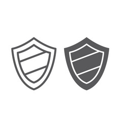 Protection line and glyph icon guard and safety vector