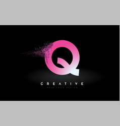 Q letter logo with dispersion effect and purple vector