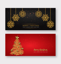 red and golden merry christmas banner background vector image