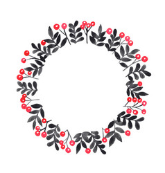 Red berry and black leaves wreath watercolor vector