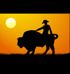 Rodeo rider silhouette sunset vector