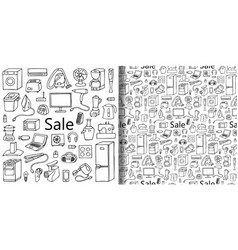 Sale household appliances set and seamless pattern vector