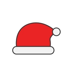 Santa Claus hat flat line icon vector