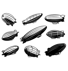 set air balloons zeppelin design element vector image