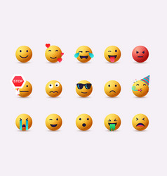 Set emoticons emoji flat design avatar 3d web vector