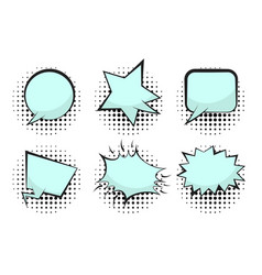 set of blue empty retro comic speech bubbles vector image