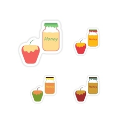 Set of paper stickers on white background honey vector