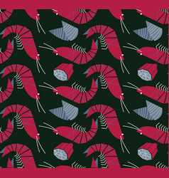 Shrimp mussels and lemon seamless pattern vector