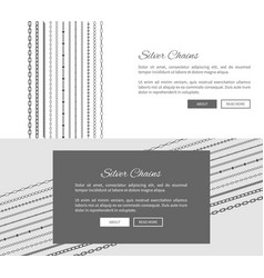 Silver chains internet shop web page template vector