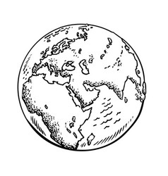 Sketch of the earth isolated vector