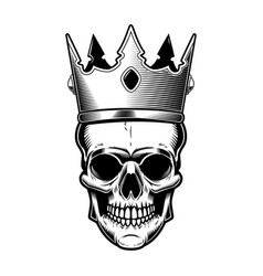 Skull with king crown design element for poster vector