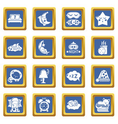 Sleeping icons set blue square vector