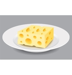 Slice of Cheese on a Plate vector image