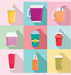 smoothie fruit juice icons set flat style vector image