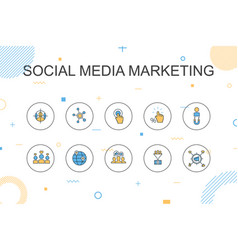 Social media marketing trendy infographic template vector