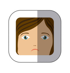 Sticker cartoon human female sad face vector