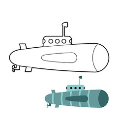 Submarine coloring book Ship to swim underwater vector image