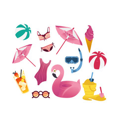 summer holiday vacation elements set vector image